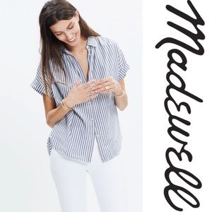 Madewell Central Shirt in Blue and White Stripes